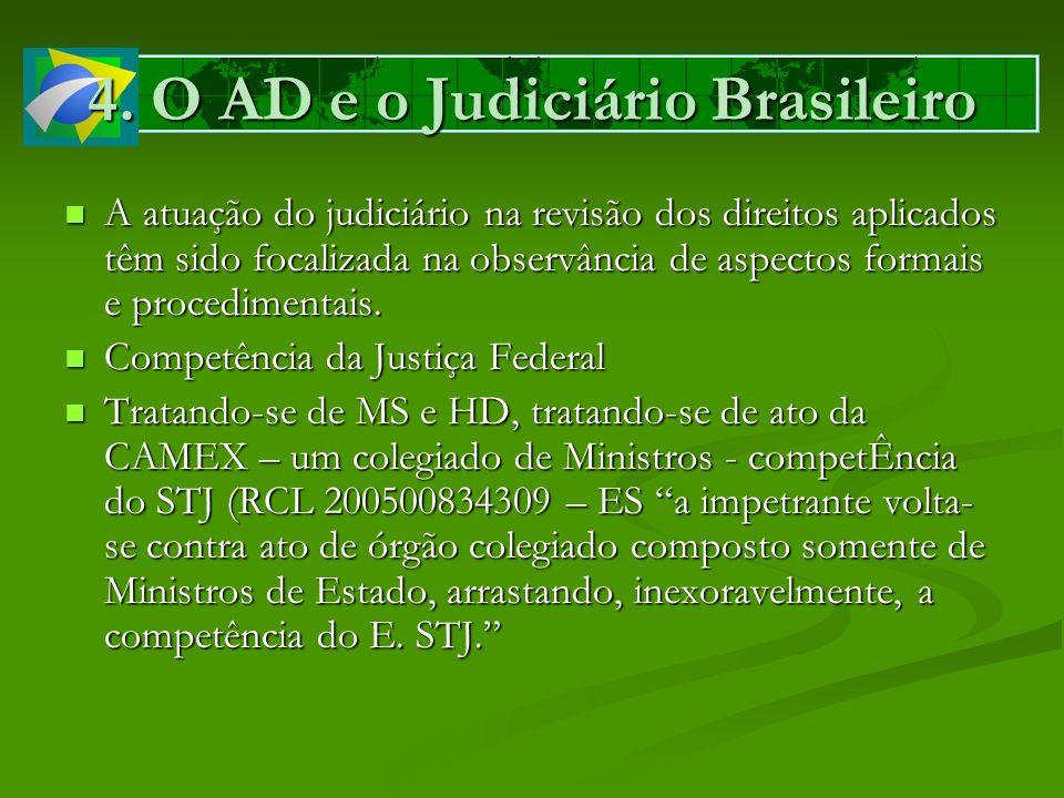 4. O AD e o Judiciário Brasileiro A atuação do judiciário na revisão dos direitos aplicados têm sido focalizada na observância de aspectos formais e p