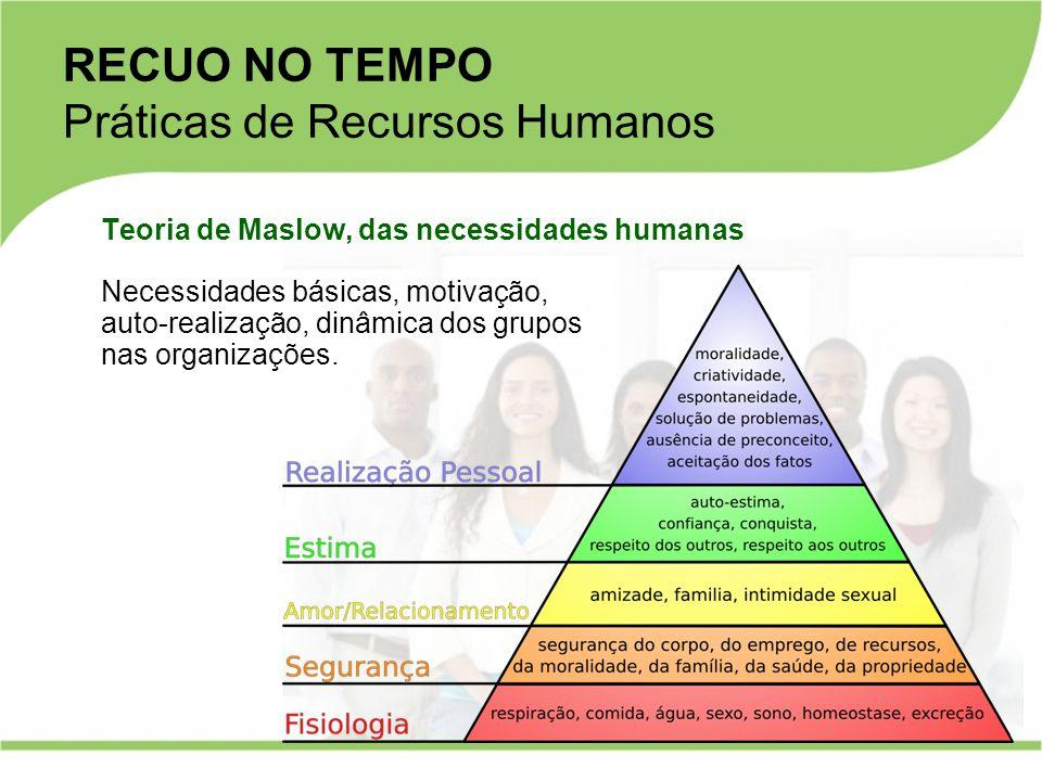 Teoria de Maslow, das necessidades humanas Necessidades básicas, motivação, auto-realização, dinâmica dos grupos nas organizações. RECUO NO TEMPO Prát
