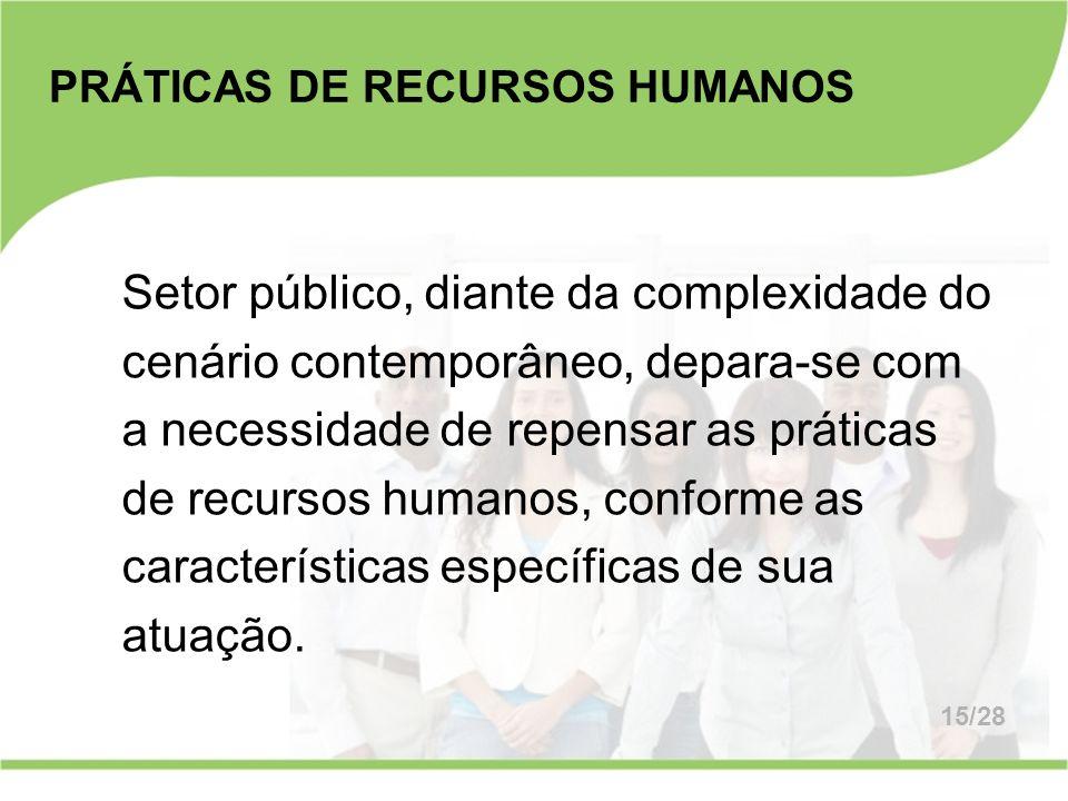 PRÁTICAS DE RECURSOS HUMANOS Setor público, diante da complexidade do cenário contemporâneo, depara-se com a necessidade de repensar as práticas de re