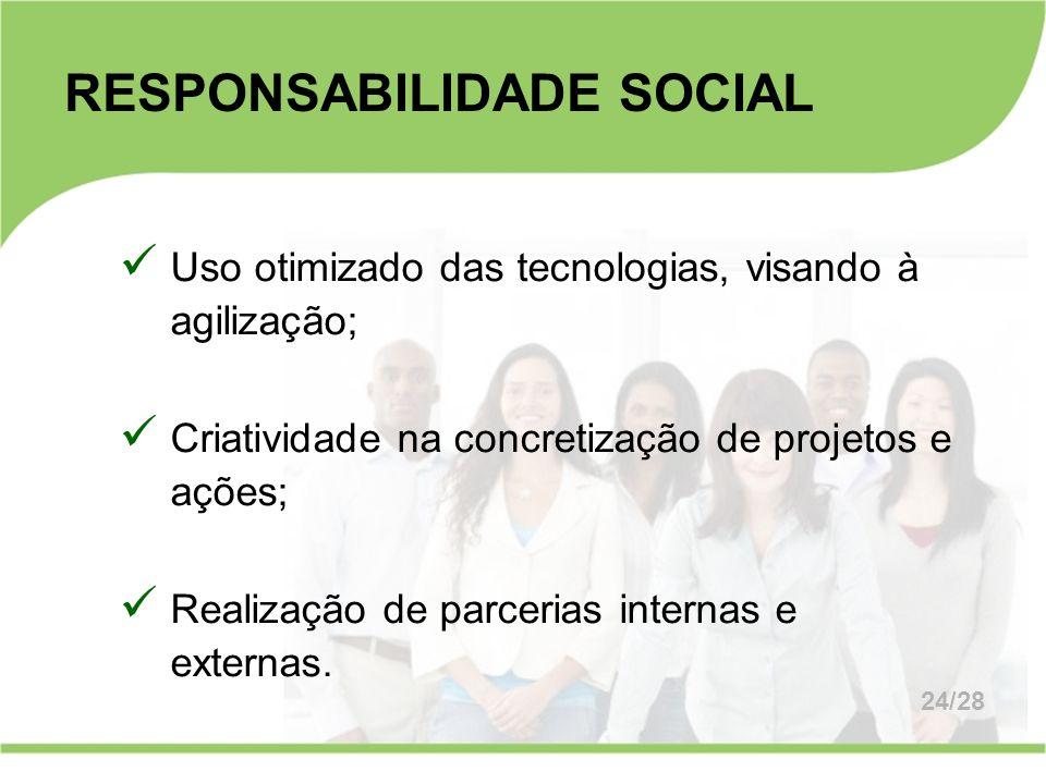 RESPONSABILIDADE SOCIAL Uso otimizado das tecnologias, visando à agilização; Criatividade na concretização de projetos e ações; Realização de parceria