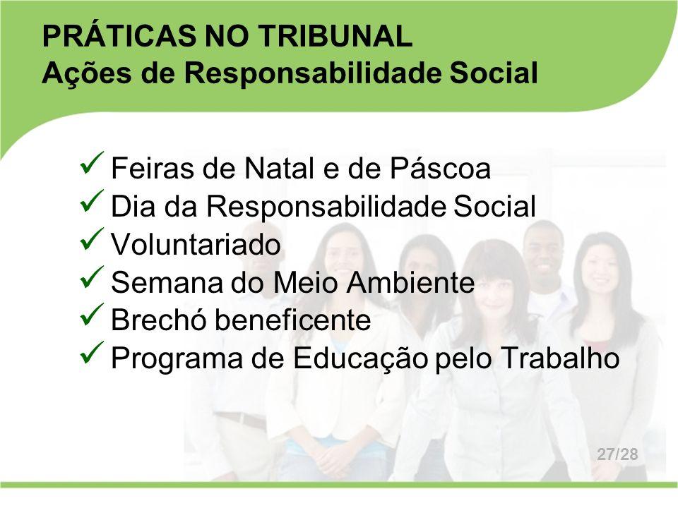 PRÁTICAS NO TRIBUNAL Ações de Responsabilidade Social Feiras de Natal e de Páscoa Dia da Responsabilidade Social Voluntariado Semana do Meio Ambiente