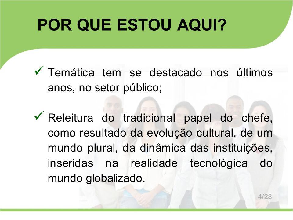 Temática tem se destacado nos últimos anos, no setor público; Releitura do tradicional papel do chefe, como resultado da evolução cultural, de um mund