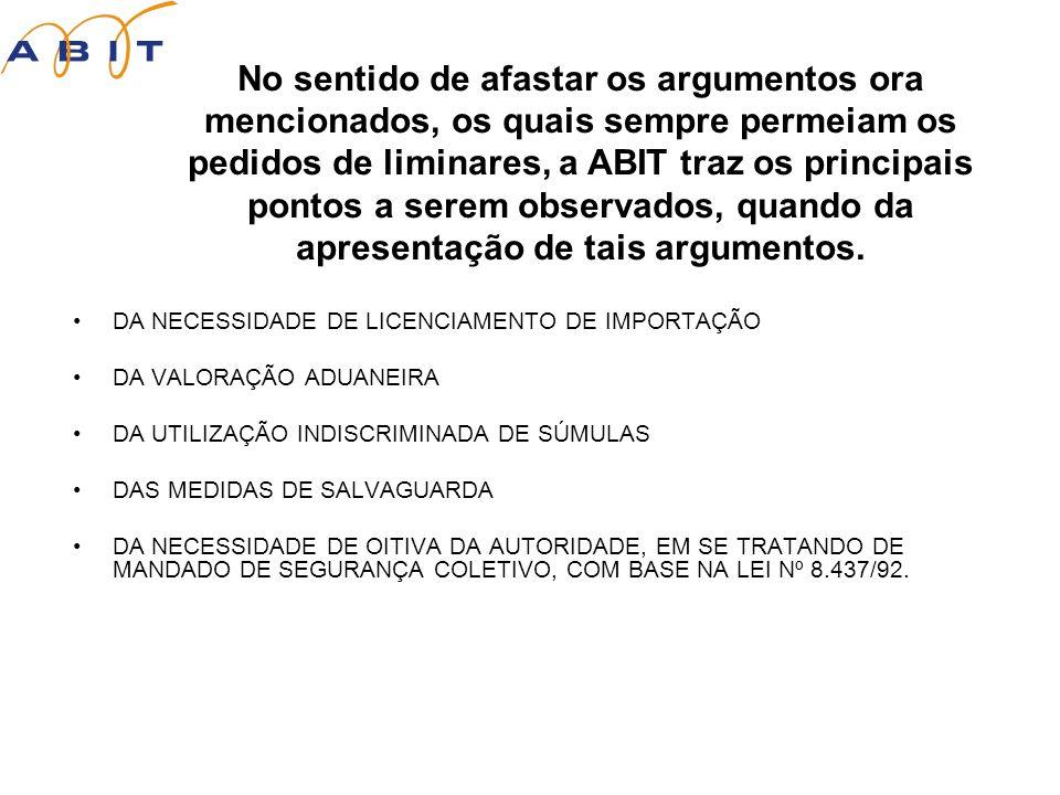 No sentido de afastar os argumentos ora mencionados, os quais sempre permeiam os pedidos de liminares, a ABIT traz os principais pontos a serem observados, quando da apresentação de tais argumentos.