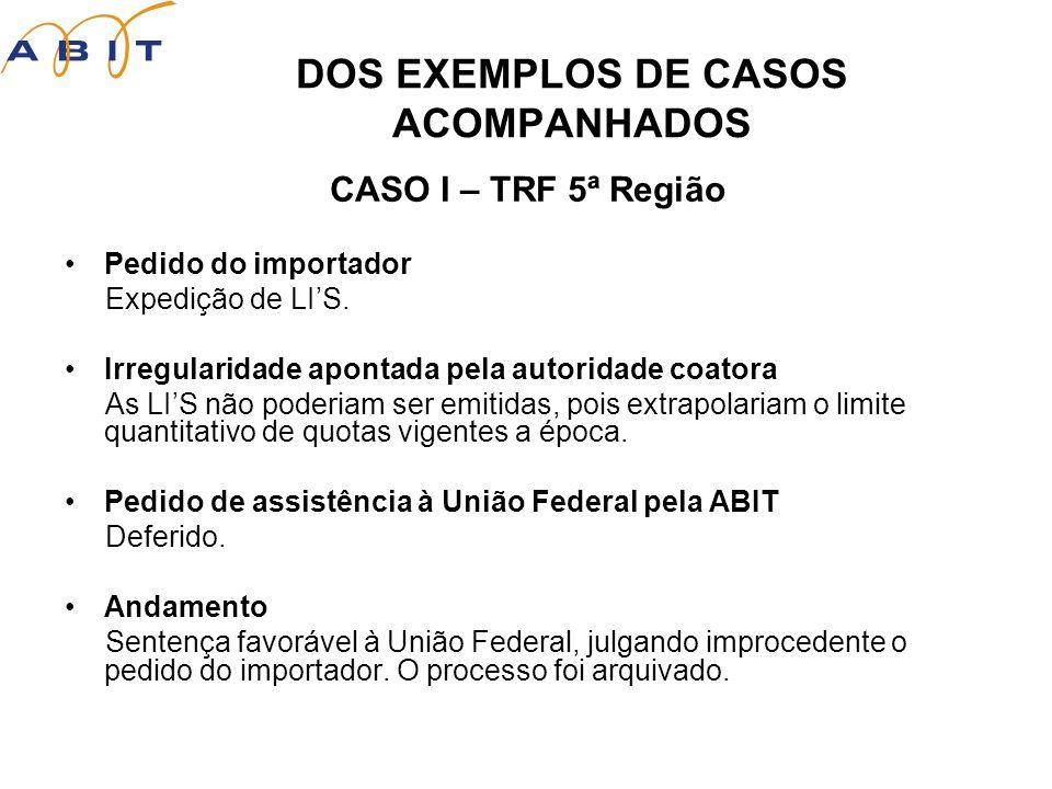 DOS EXEMPLOS DE CASOS ACOMPANHADOS CASO I – TRF 5ª Região Pedido do importador Expedição de LIS.
