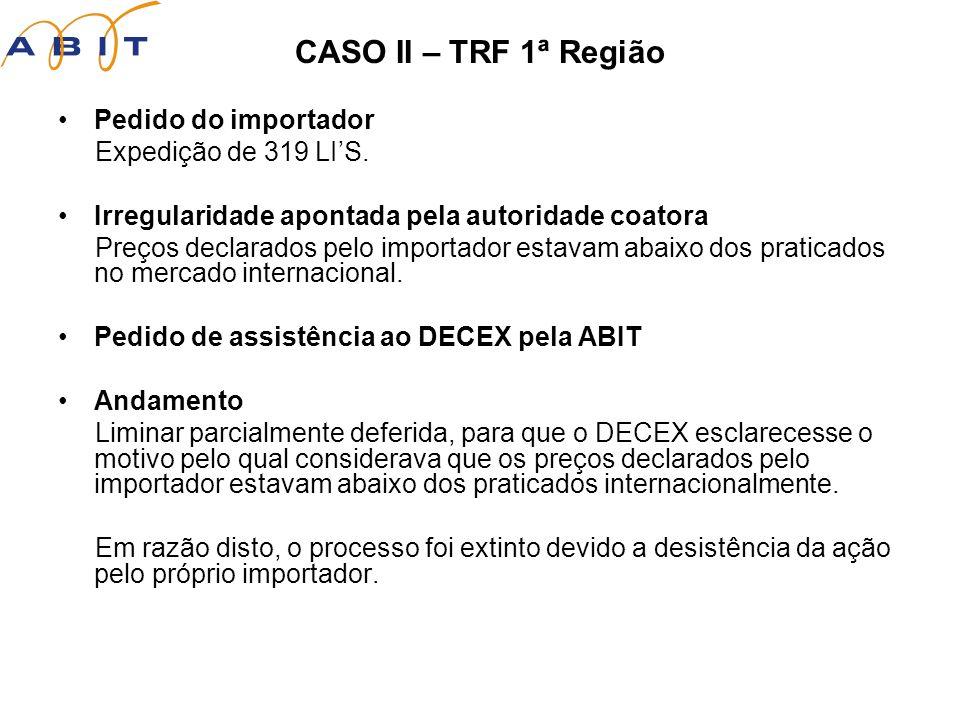 CASO II – TRF 1ª Região Pedido do importador Expedição de 319 LIS.