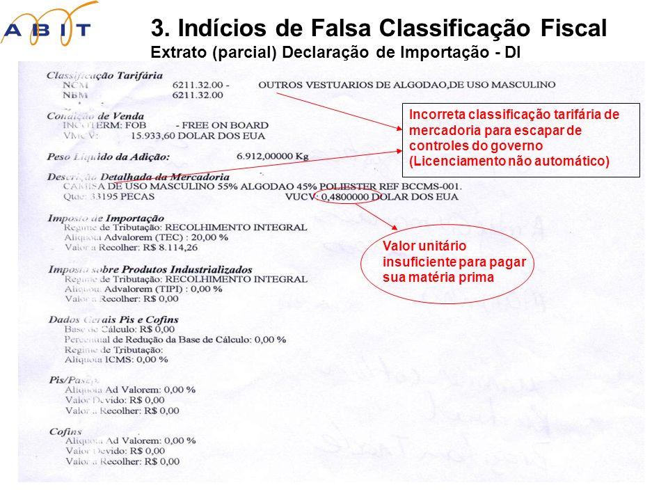 3. Indícios de Falsa Classificação Fiscal Extrato (parcial) Declaração de Importação - DI Incorreta classificação tarifária de mercadoria para escapar