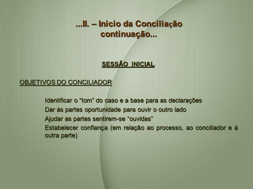 ...II. – Inicio da Concilia ç ão continuação... SESSÃO INICIAL SESSÃO INICIAL OBJETIVOS DO CONCILIADOR Identificar o tom do caso e a base para as decl