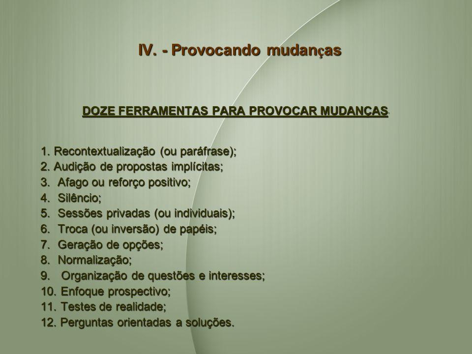 IV. - Provocando mudan ç as DOZE FERRAMENTAS PARA PROVOCAR MUDANÇAS DOZE FERRAMENTAS PARA PROVOCAR MUDANÇAS 1. Recontextualização (ou paráfrase); 2. A