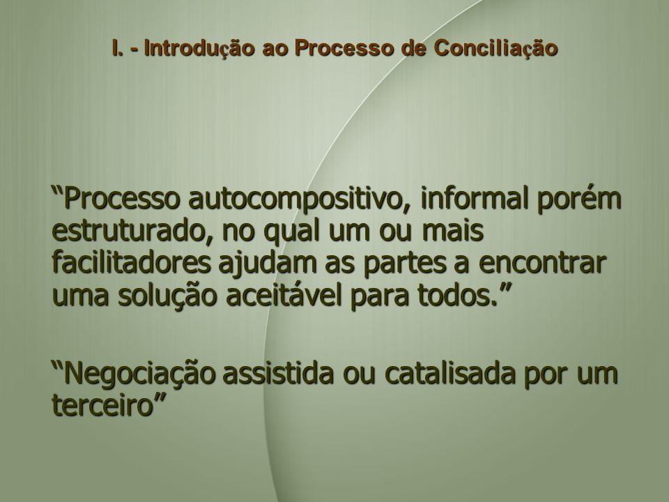 I. - Introdu ç ão ao Processo de Concilia ç ão Processo autocompositivo, informal porém estruturado, no qual um ou mais facilitadores ajudam as partes