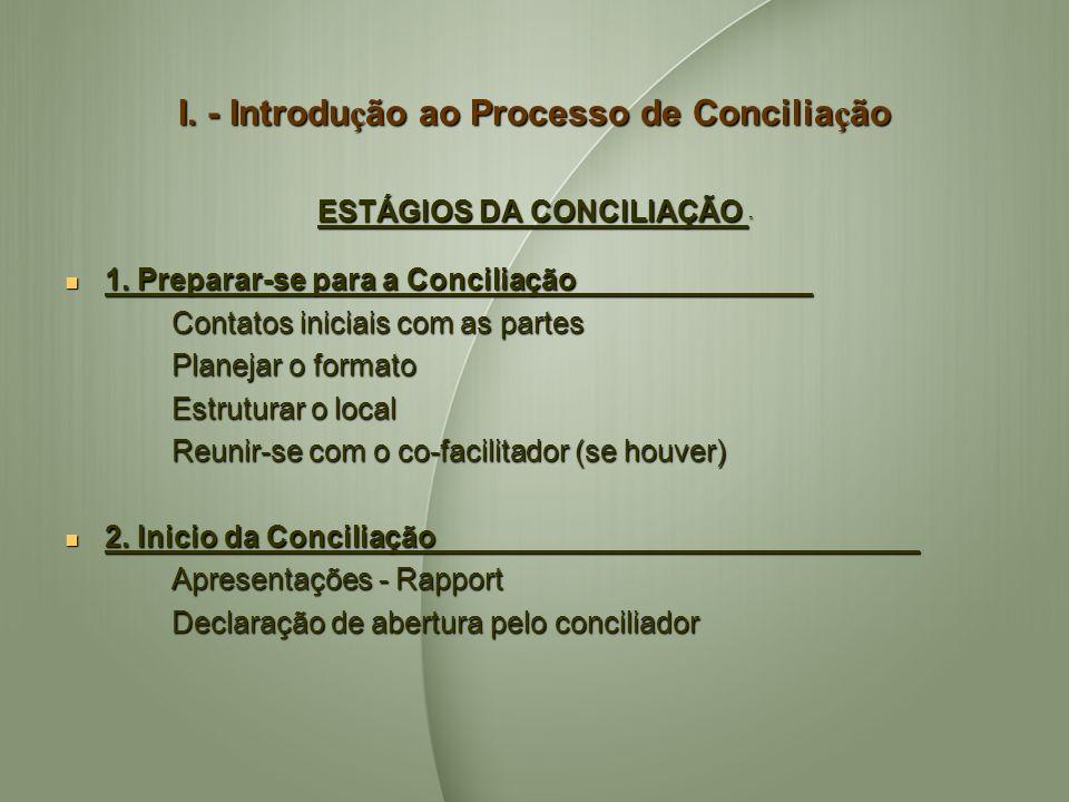I. - Introdu ç ão ao Processo de Concilia ç ão ESTÁGIOS DA CONCILIAÇÃO ESTÁGIOS DA CONCILIAÇÃO 1. Preparar-se para a Conciliação 1. Preparar-se para a