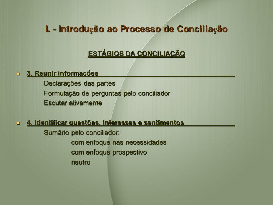 I. - Introdu ç ão ao Processo de Concilia ç ão ESTÁGIOS DA CONCILIAÇÃO 3. Reunir informações 3. Reunir informações Declarações das partes Formulação d