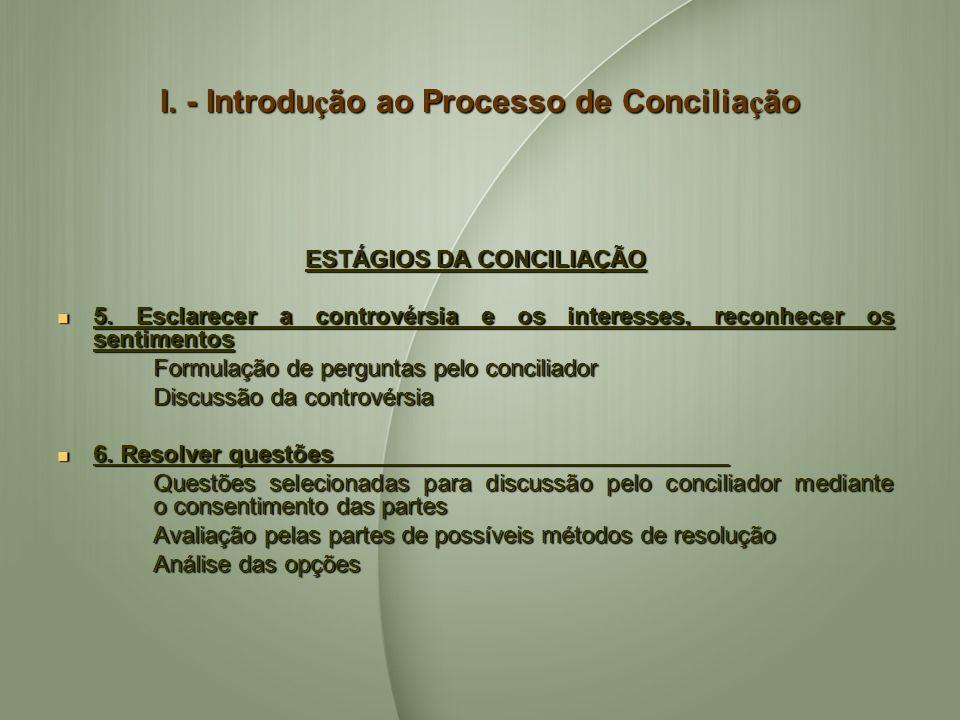 I. - Introdu ç ão ao Processo de Concilia ç ão ESTÁGIOS DA CONCILIAÇÃO 5. Esclarecer a controvérsia e os interesses, reconhecer os sentimentos 5. Escl