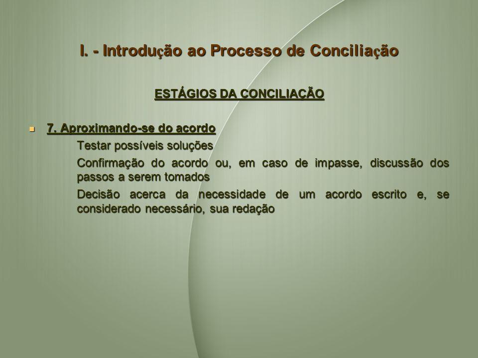I. - Introdu ç ão ao Processo de Concilia ç ão ESTÁGIOS DA CONCILIAÇÃO 7. Aproximando-se do acordo 7. Aproximando-se do acordo Testar possíveis soluçõ