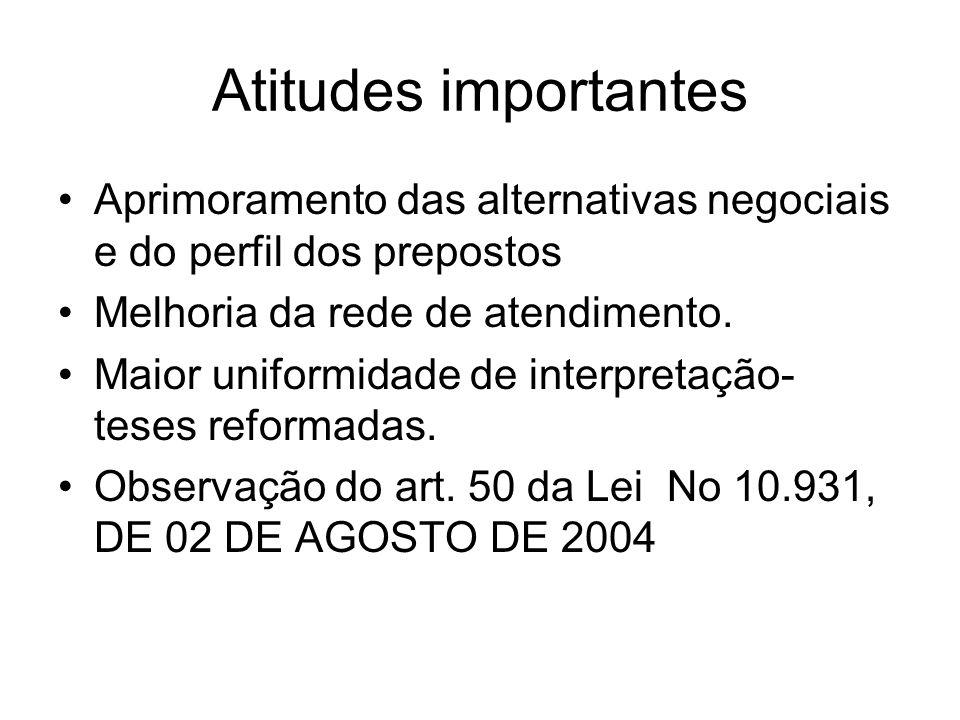 Atitudes importantes Aprimoramento das alternativas negociais e do perfil dos prepostos Melhoria da rede de atendimento. Maior uniformidade de interpr