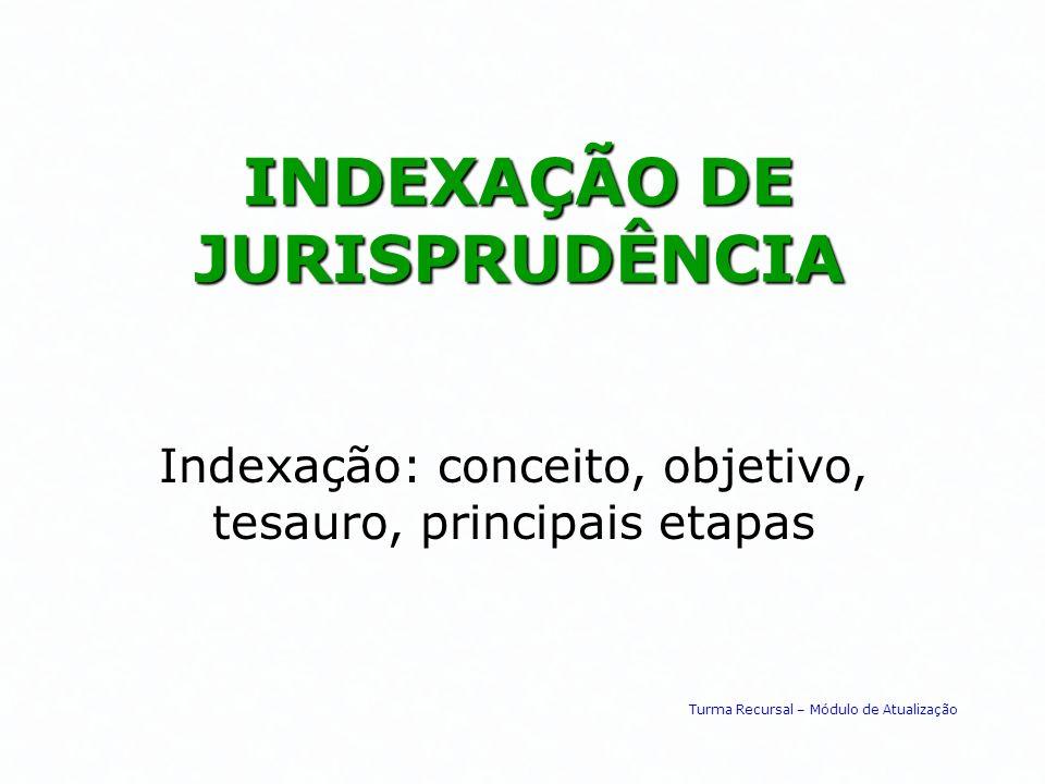 INDEXAÇÃO DE JURISPRUDÊNCIA Indexação: conceito, objetivo, tesauro, principais etapas Turma Recursal – Módulo de Atualização