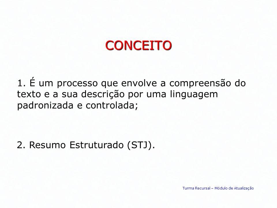 CONCEITO 1. É um processo que envolve a compreensão do texto e a sua descrição por uma linguagem padronizada e controlada; 2. Resumo Estruturado (STJ)