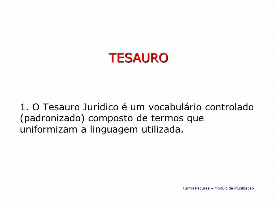 TESAURO 1. O Tesauro Jurídico é um vocabulário controlado (padronizado) composto de termos que uniformizam a linguagem utilizada. Turma Recursal – Mód
