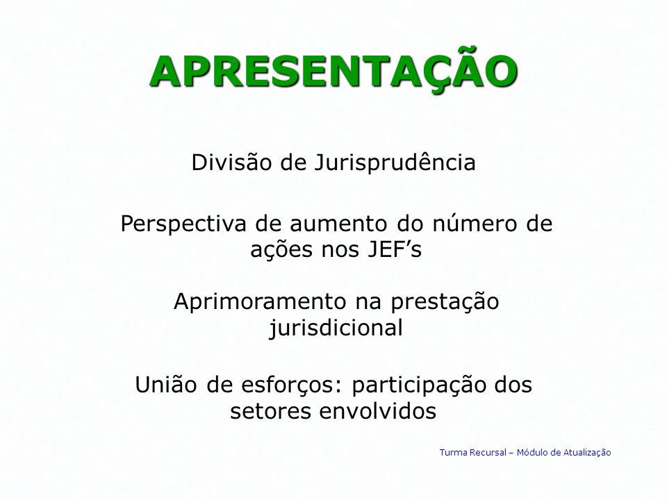 APRESENTAÇÃO Perspectiva de aumento do número de ações nos JEFs Aprimoramento na prestação jurisdicional União de esforços: participação dos setores e