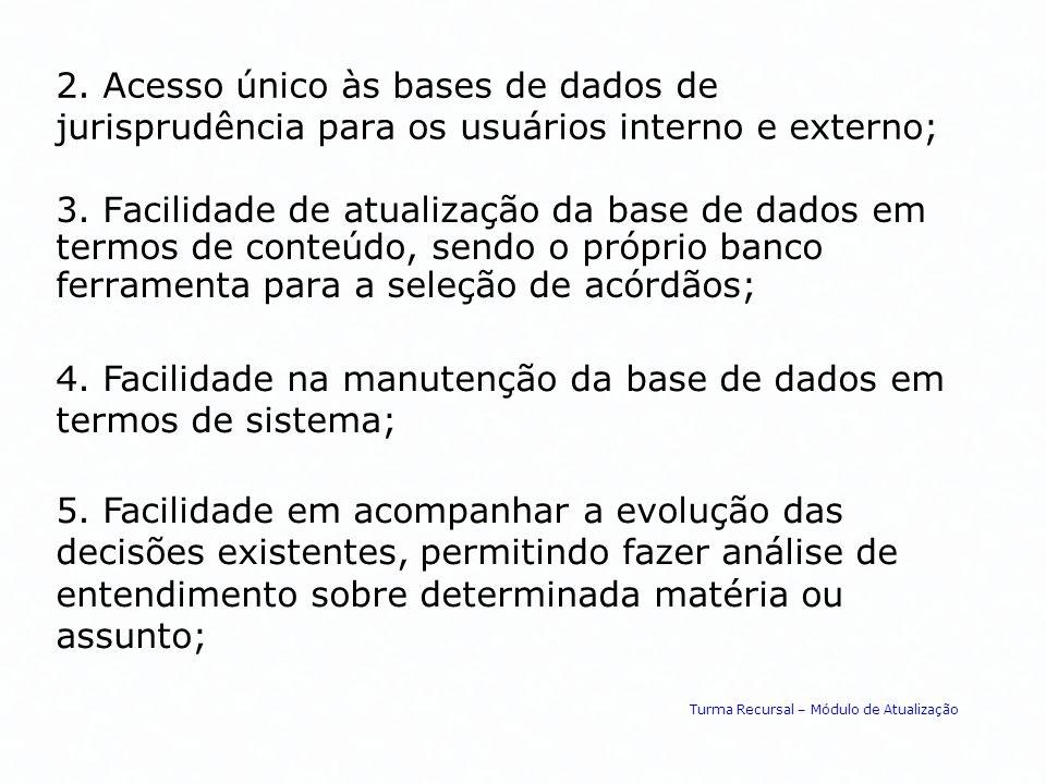2. Acesso único às bases de dados de jurisprudência para os usuários interno e externo; 3. Facilidade de atualização da base de dados em termos de con