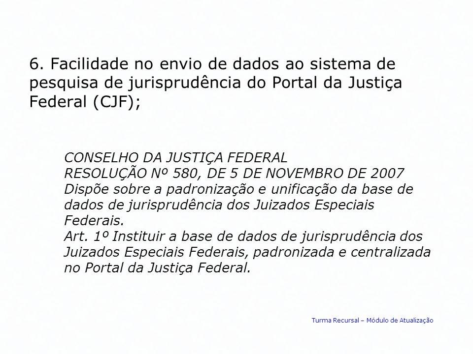 6. Facilidade no envio de dados ao sistema de pesquisa de jurisprudência do Portal da Justiça Federal (CJF); CONSELHO DA JUSTIÇA FEDERAL RESOLUÇÃO Nº