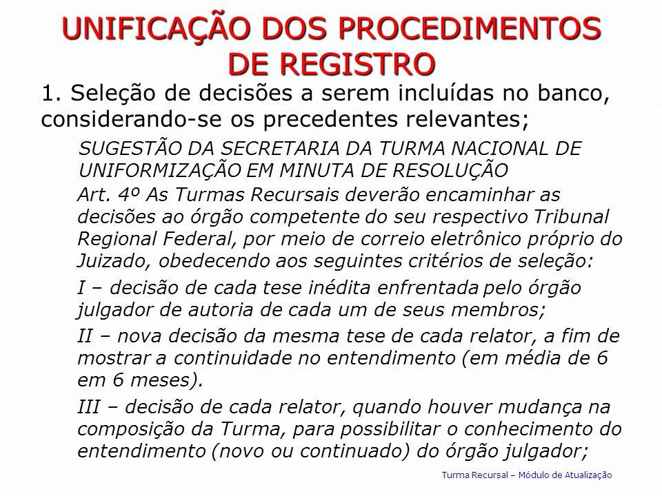 UNIFICAÇÃO DOS PROCEDIMENTOS DE REGISTRO 1. Seleção de decisões a serem incluídas no banco, considerando-se os precedentes relevantes; SUGESTÃO DA SEC
