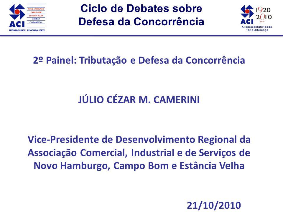 Ciclo de Debates sobre Defesa da Concorrência Ciclo de Debates sobre Defesa da Concorrência 2º Painel: Tributação e Defesa da Concorrência JÚLIO CÉZAR M.