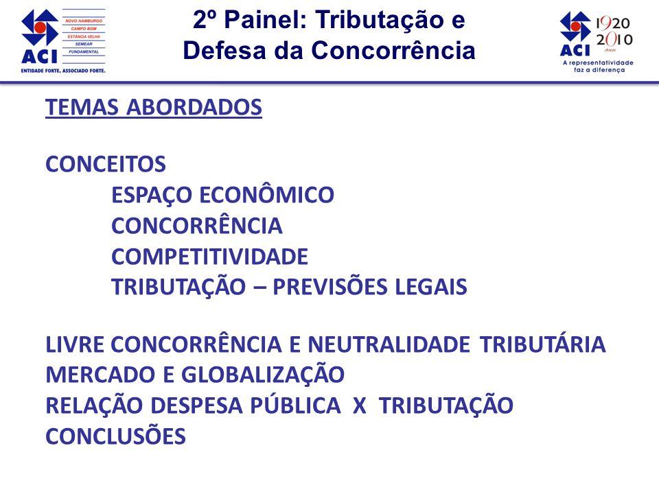 2º Painel: Tributação e Defesa da Concorrência 2º Painel: Tributação e Defesa da Concorrência TEMAS ABORDADOS CONCEITOS ESPAÇO ECONÔMICO CONCORRÊNCIA COMPETITIVIDADE TRIBUTAÇÃO – PREVISÕES LEGAIS LIVRE CONCORRÊNCIA E NEUTRALIDADE TRIBUTÁRIA MERCADO E GLOBALIZAÇÃO RELAÇÃO DESPESA PÚBLICA X TRIBUTAÇÃO CONCLUSÕES TEMAS ABORDADOS CONCEITOS ESPAÇO ECONÔMICO CONCORRÊNCIA COMPETITIVIDADE TRIBUTAÇÃO – PREVISÕES LEGAIS LIVRE CONCORRÊNCIA E NEUTRALIDADE TRIBUTÁRIA MERCADO E GLOBALIZAÇÃO RELAÇÃO DESPESA PÚBLICA X TRIBUTAÇÃO CONCLUSÕES