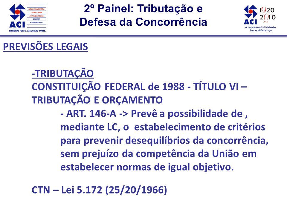 2º Painel: Tributação e Defesa da Concorrência 2º Painel: Tributação e Defesa da Concorrência PREVISÕES LEGAIS - CONCORRÊNCIA ORDEM ECONÔMICA E FINANCEIRA -> Deve atender o disposto no art.