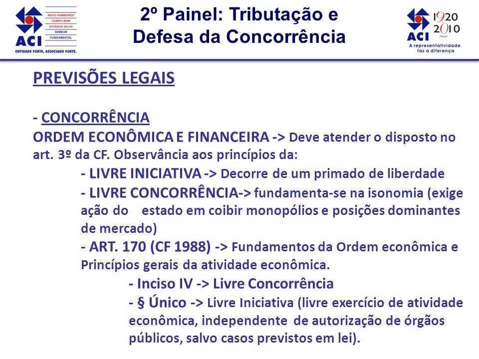 2º Painel: Tributação e Defesa da Concorrência 2º Painel: Tributação e Defesa da Concorrência PREVISÕES LEGAIS - CONCORRÊNCIA - ART.