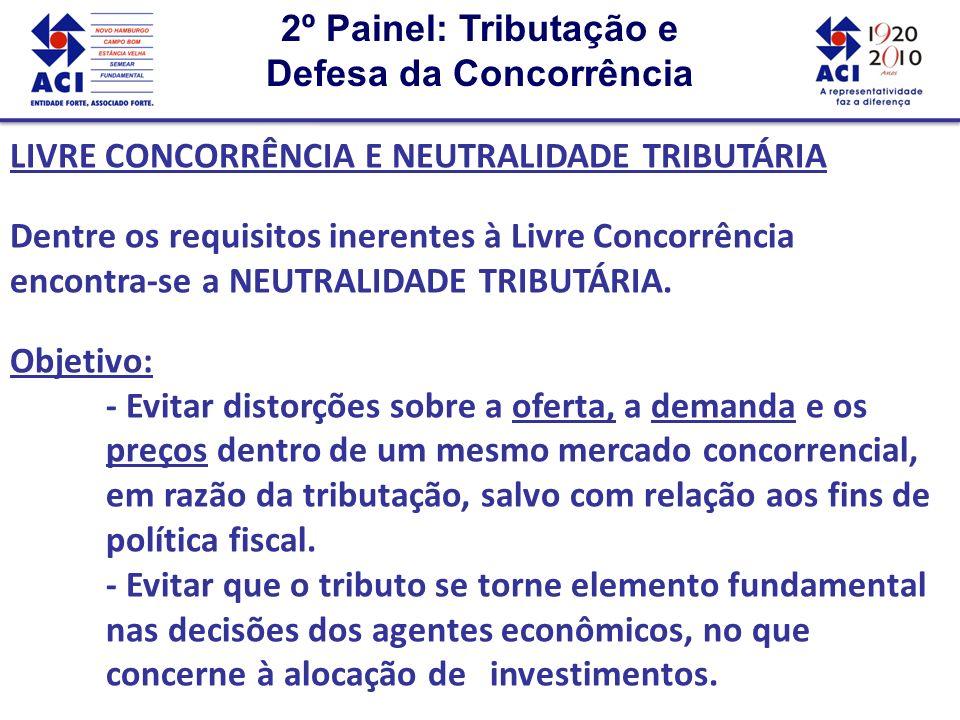 2º Painel: Tributação e Defesa da Concorrência 2º Painel: Tributação e Defesa da Concorrência LIVRE CONCORRÊNCIA E NEUTRALIDADE TRIBUTÁRIA Dentre os requisitos inerentes à Livre Concorrência encontra-se a NEUTRALIDADE TRIBUTÁRIA.