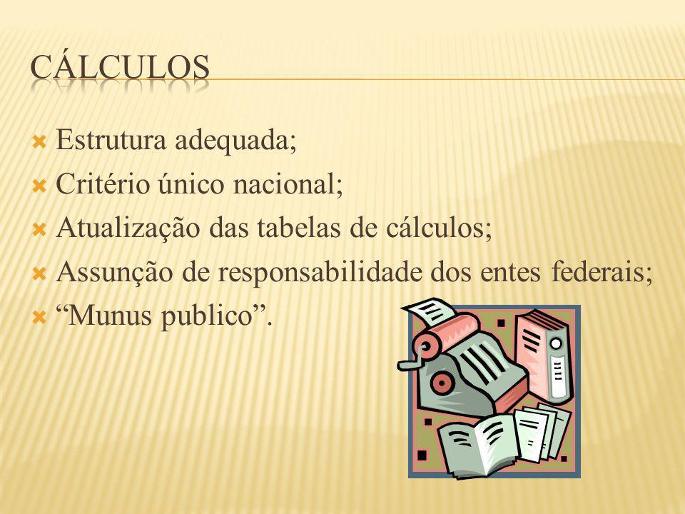 Estrutura adequada; Critério único nacional; Atualização das tabelas de cálculos; Assunção de responsabilidade dos entes federais; Munus publico.
