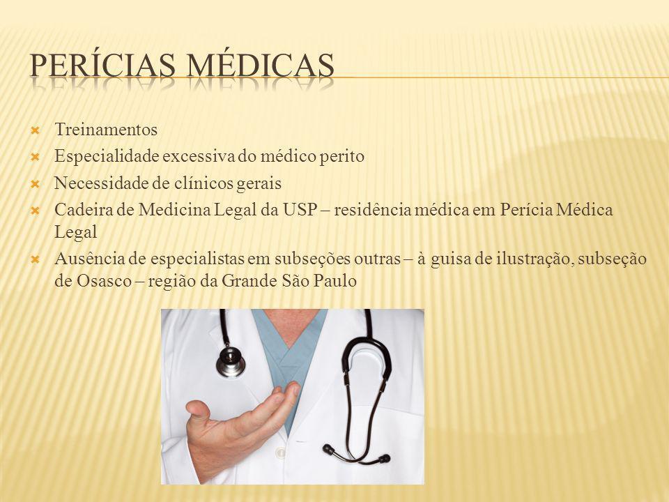 Treinamentos Especialidade excessiva do médico perito Necessidade de clínicos gerais Cadeira de Medicina Legal da USP – residência médica em Perícia M