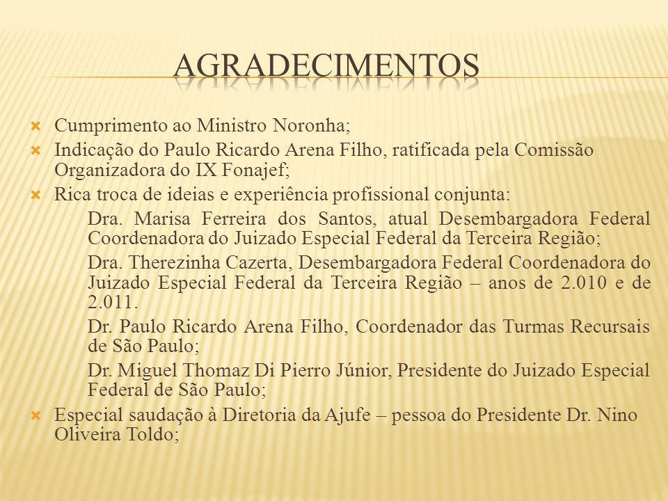 Cumprimento ao Ministro Noronha; Indicação do Paulo Ricardo Arena Filho, ratificada pela Comissão Organizadora do IX Fonajef; Rica troca de ideias e e
