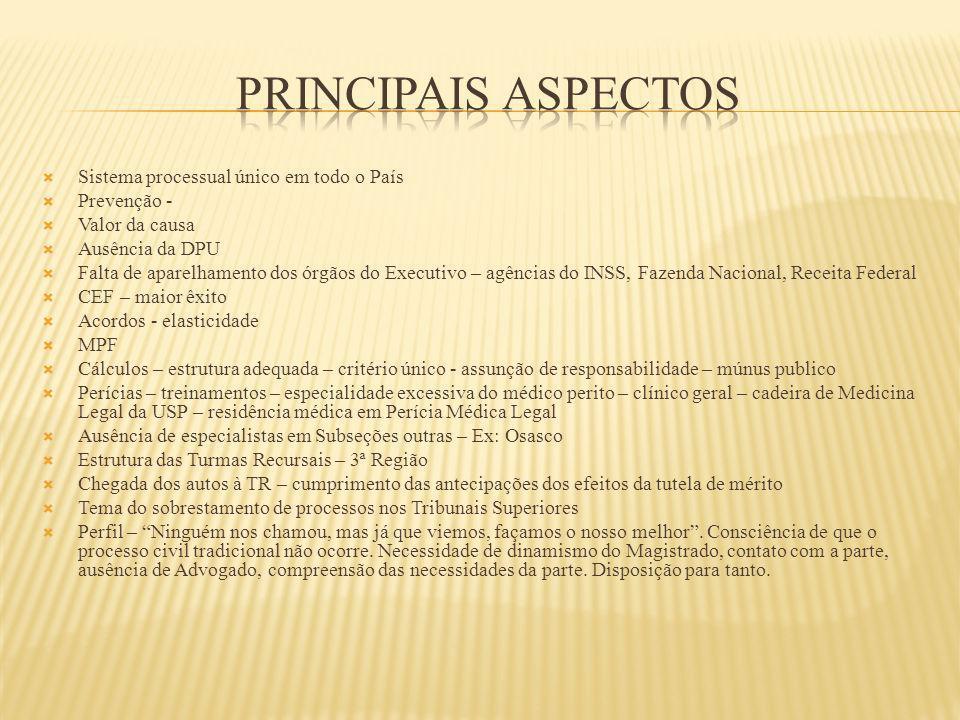Sistema processual único em todo o País Prevenção - Valor da causa Ausência da DPU Falta de aparelhamento dos órgãos do Executivo – agências do INSS,