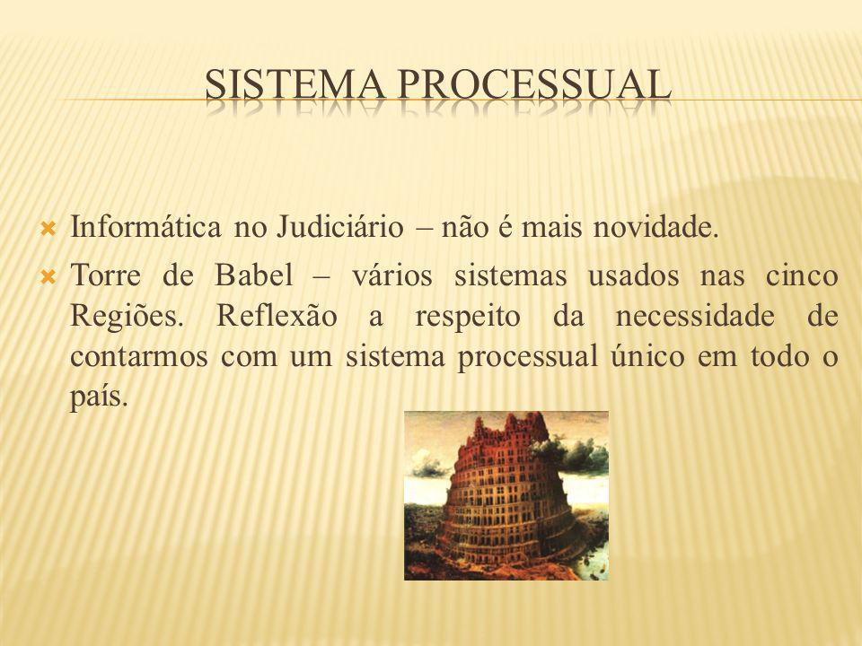 Informática no Judiciário – não é mais novidade. Torre de Babel – vários sistemas usados nas cinco Regiões. Reflexão a respeito da necessidade de cont