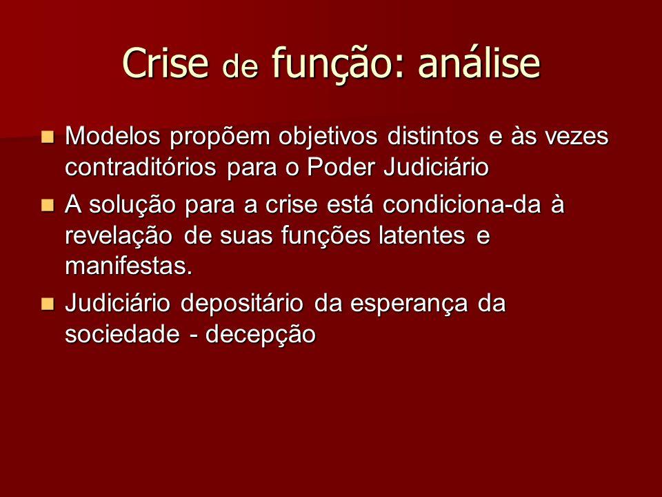 Crise de função: análise Modelos propõem objetivos distintos e às vezes contraditórios para o Poder Judiciário Modelos propõem objetivos distintos e à