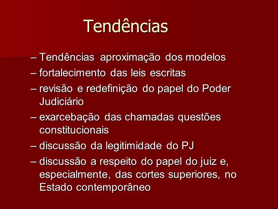 Tendências –Tendênciasaproximação dos modelos –fortalecimento das leis escritas –revisão e redefinição do papel do Poder Judiciário –exarcebação das c