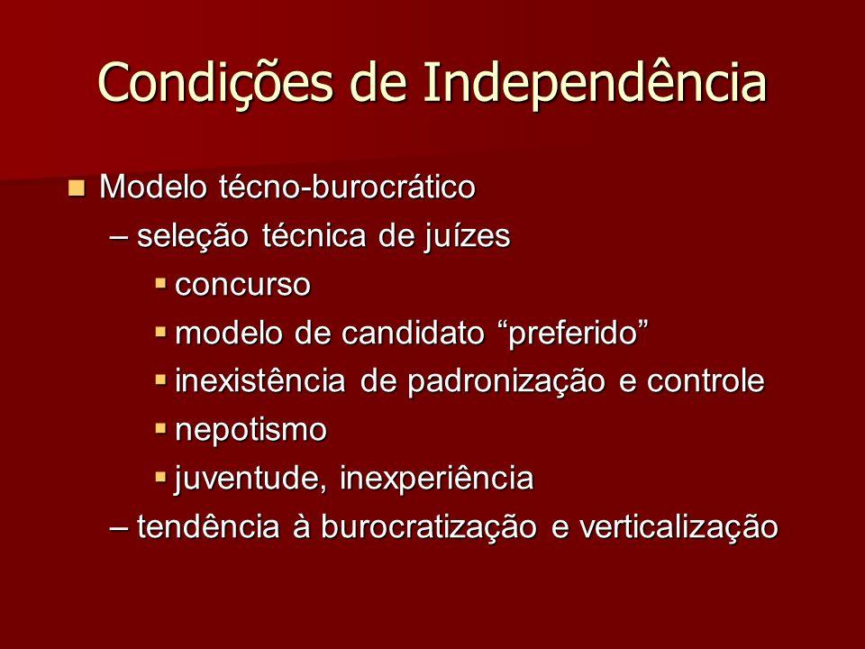 Condições de Independência Modelo técno-burocrático Modelo técno-burocrático –seleção técnica de juízes concurso concurso modelo de candidato preferid