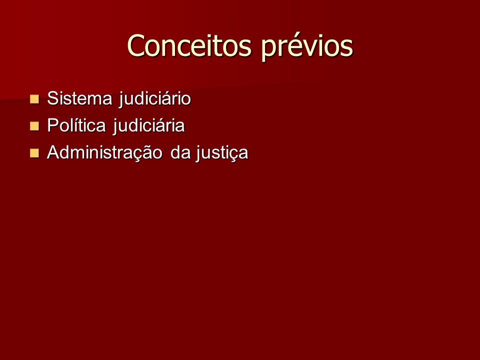Conceitos prévios Sistema judiciário Sistema judiciário Política judiciária Política judiciária Administração da justiça Administração da justiça