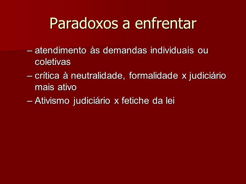 Paradoxos a enfrentar –atendimento às demandas individuais ou coletivas –crítica à neutralidade, formalidade x judiciário mais ativo –Ativismo judiciá