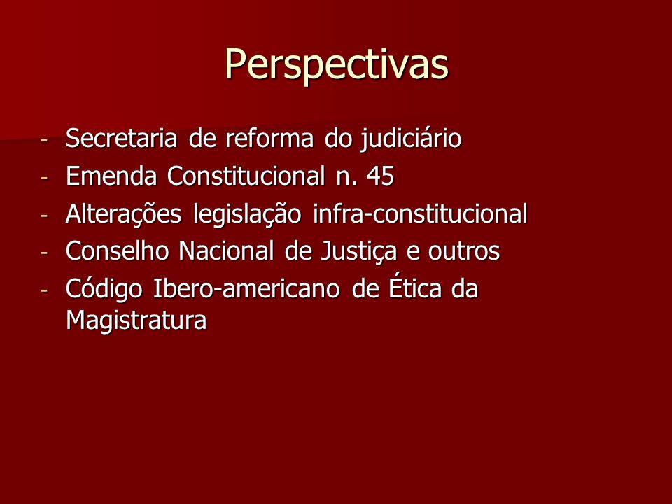 Perspectivas - Secretaria de reforma do judiciário - Emenda Constitucional n. 45 - Alterações legislação infra-constitucional - Conselho Nacional de J