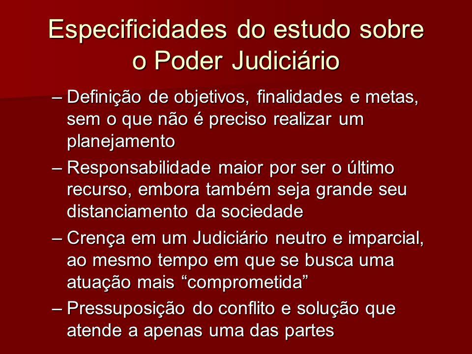 Especificidades do estudo sobre o Poder Judiciário –Definição de objetivos, finalidades e metas, sem o que não é preciso realizar um planejamento –Res