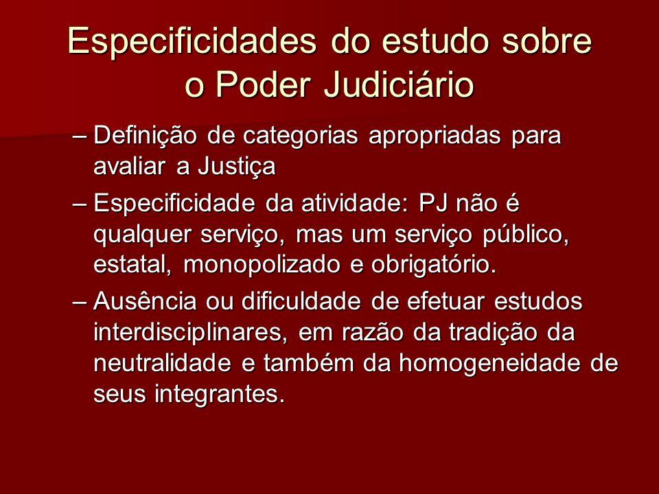 Especificidades do estudo sobre o Poder Judiciário –Definição de categorias apropriadas para avaliar a Justiça –Especificidade da atividade: PJ não é