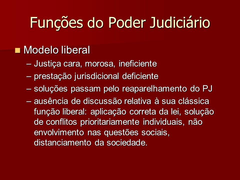 Funções do Poder Judiciário Modelo liberal Modelo liberal –Justiça cara, morosa, ineficiente –prestação jurisdicional deficiente –soluções passam pelo