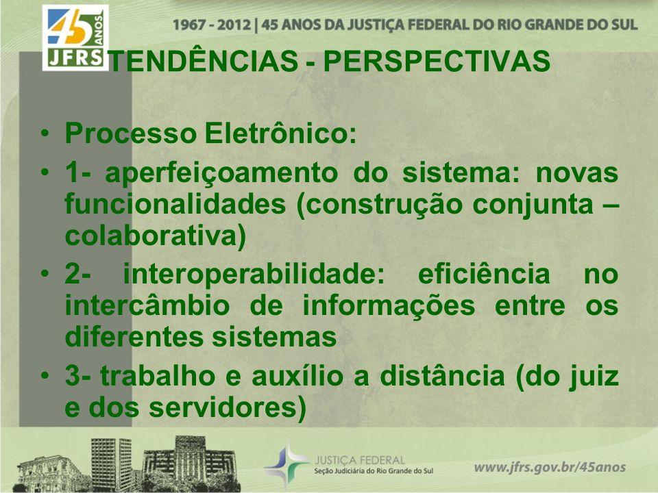 TENDÊNCIAS - PERSPECTIVAS Processo Eletrônico: 1- aperfeiçoamento do sistema: novas funcionalidades (construção conjunta – colaborativa) 2- interopera