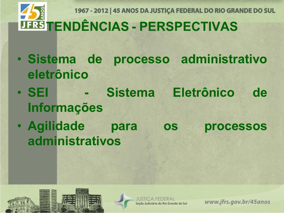 TENDÊNCIAS - PERSPECTIVAS Sistema de processo administrativo eletrônico SEI - Sistema Eletrônico de Informações Agilidade para os processos administrativos
