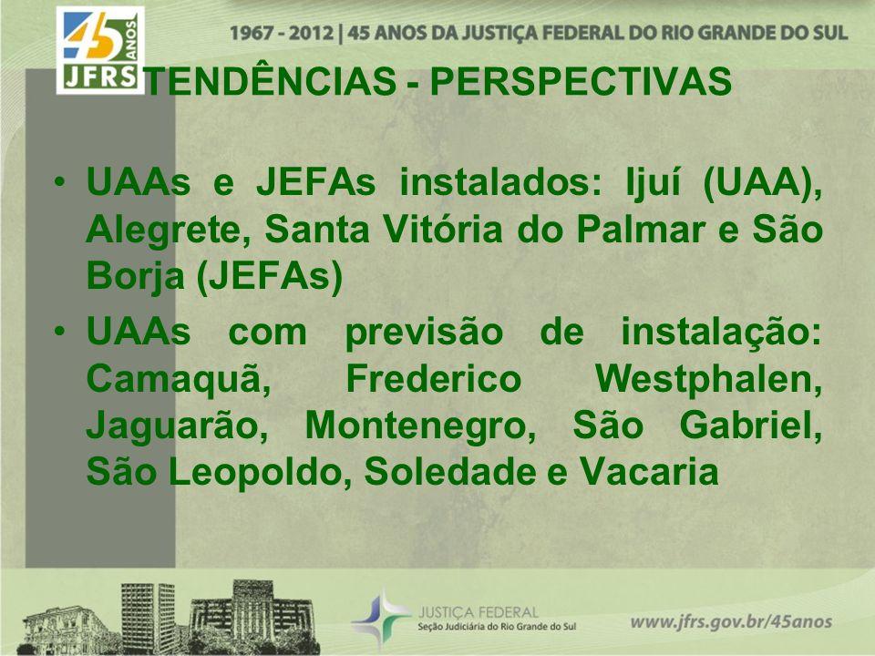 TENDÊNCIAS - PERSPECTIVAS UAAs e JEFAs instalados: Ijuí (UAA), Alegrete, Santa Vitória do Palmar e São Borja (JEFAs) UAAs com previsão de instalação: