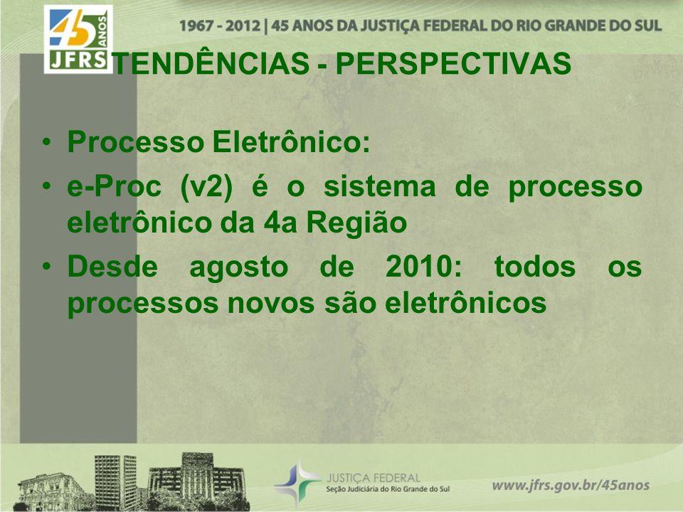 TENDÊNCIAS - PERSPECTIVAS Processo Eletrônico: e-Proc (v2) é o sistema de processo eletrônico da 4a Região Desde agosto de 2010: todos os processos novos são eletrônicos