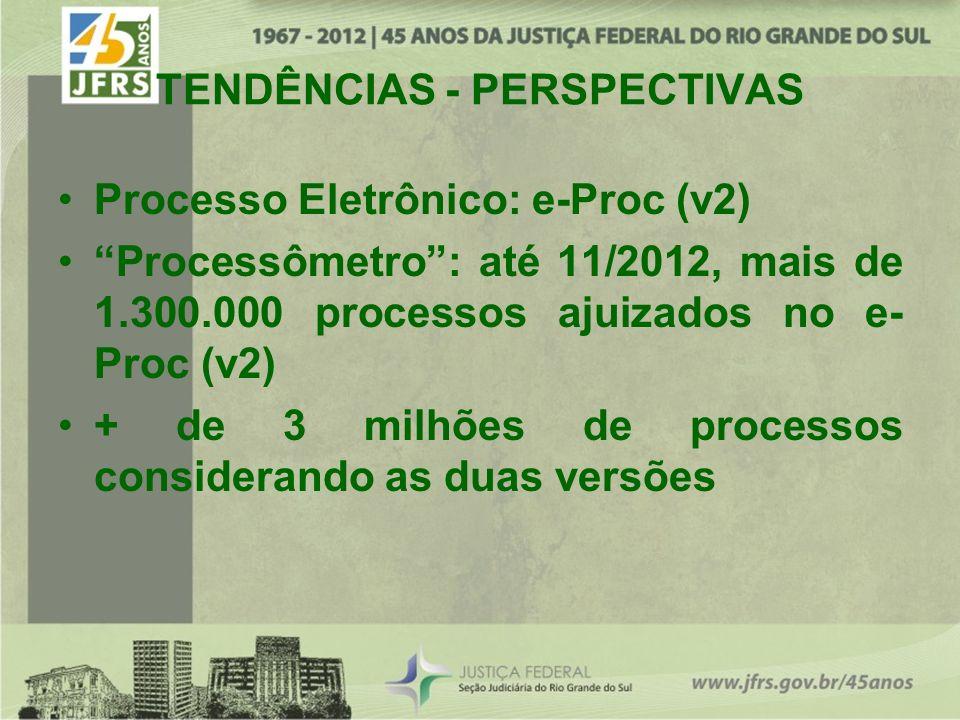 TENDÊNCIAS - PERSPECTIVAS Processo Eletrônico: e-Proc (v2) Processômetro: até 11/2012, mais de 1.300.000 processos ajuizados no e- Proc (v2) + de 3 milhões de processos considerando as duas versões