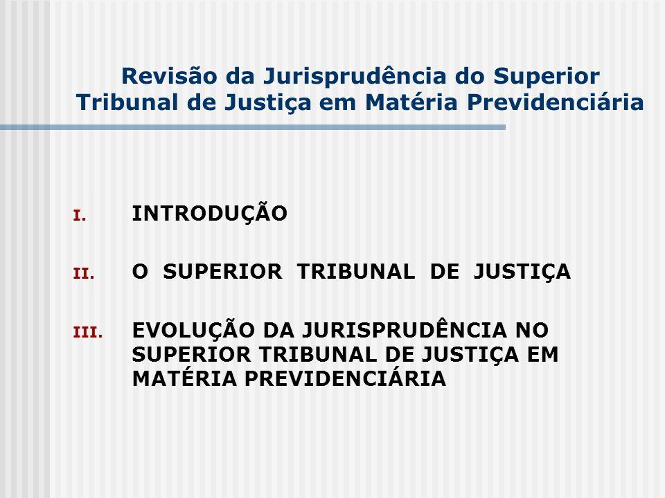 Revisão da Jurisprudência do Superior Tribunal de Justiça em Matéria Previdenciária I. INTRODUÇÃO II. O SUPERIOR TRIBUNAL DE JUSTIÇA III. EVOLUÇÃO DA